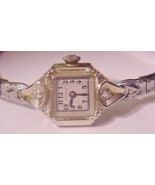 14K BULOVA 17J Watch Yellow Gold 2 Diamonds Deco Estate Ladies Vintage Rare - $259.00