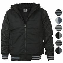 Vertical Sport Men's Sherpa Fleece Lined Two Tone Zip Up Hoodie Jacket image 1