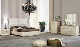 J&M Chiara Light Walnut High Gloss Veneer & Grey Eco Pelle Queen Bedroom Set 5Pc