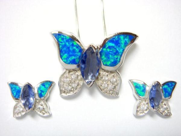 925 Silver Earrings Pendant Set Hawaiian Opal Butterfly CZ