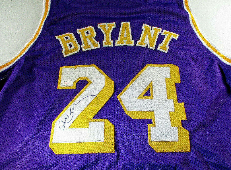 KOBE BRYANT / NBA HALL OF FAME / AUTOGRAPHED LAKERS PURPLE CUSTOM JERSEY / COA