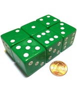 6x JUMBO Dice Six Sided D6 25mm Standard Square Edged Die GREEN With Whi... - $9.99