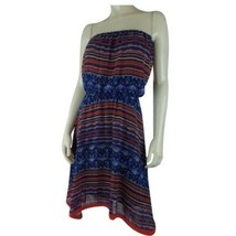Maeve Anthropologie Dress M Navy Orange Tan Abstract Strapless Boho - $38.61