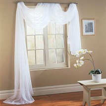 """1 Piece Hotel Quality Pure White Sheer Voile Window Scarf Valance 55"""" X ... - $1.50"""