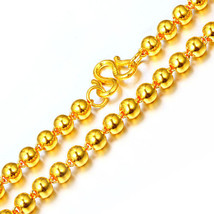 22K YELLOW GOLD BALL BEAD BRACELET CHAIN UNISEX ROUND BEADS WRIST JEWELRY - $1,259.87+