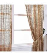 Sequin Room Darkening Window Treatment Panel Drape with Rod Pockets Gold... - $133.83
