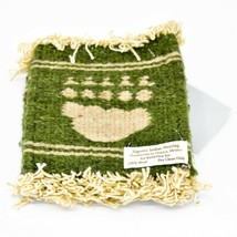 Handmade Zapotec Indian Weaving Hand-Woven Bear Paw Green Wool Coaster Set of 4 image 1