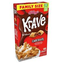Kelloggs Krave Breakfast Cereal, Chocolate, Good Source of Fiber, Family... - $15.03