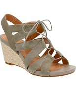 Clarks Artisan Acina Chester Wedge Sandal Strappy Suede Shoes Green Lace... - $26.53