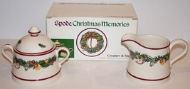 LOVELY SPODE ENGLAND S3730 CHRISTMAS MEMORIES CREAMER & SUGAR BOWL & LID... - $29.44