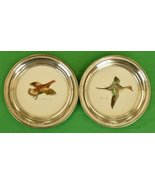 Pair of Cyril Gorainoff Hand-Painted Milk Glass Sterling Rim Coasters fo... - $400.00