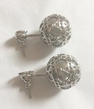 AUTH NEW DIOR MISE EN TRIBAL CANNAGE CD LOGO SILVER GRAY PEARL EARRINGS image 6
