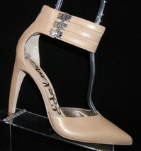 Sam Edelman 'Claire' beige leather pointed toe rear zip ankle cuff heels 10M - $46.39
