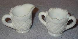 Child Westmoreland Thumbelina Pattern Milk Glass Cream Sugar - $9.95