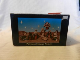 8 Piece Painted Polystone Children Nativity Set #M10714 from 2006 - $37.13
