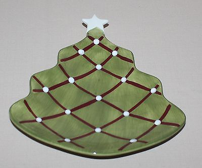 Primary image for Pottery Barn Seasons Greetings Plate Figural Christmas Tree White Star