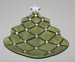 Pottery Barn Seasons Greetings Plate Figural Christmas Tree White Star - $9.85
