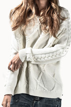 NEW ONE TEASPOON VERONA CABLE KNIT SWEATER XL 10 14 $230 WOMEN CREAM JUMPER - $969,98 MXN
