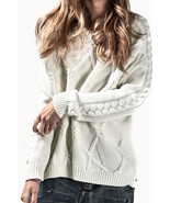 NEW ONE TEASPOON VERONA CABLE KNIT SWEATER XL 10 14 $230 WOMEN CREAM JUMPER - $985,81 MXN