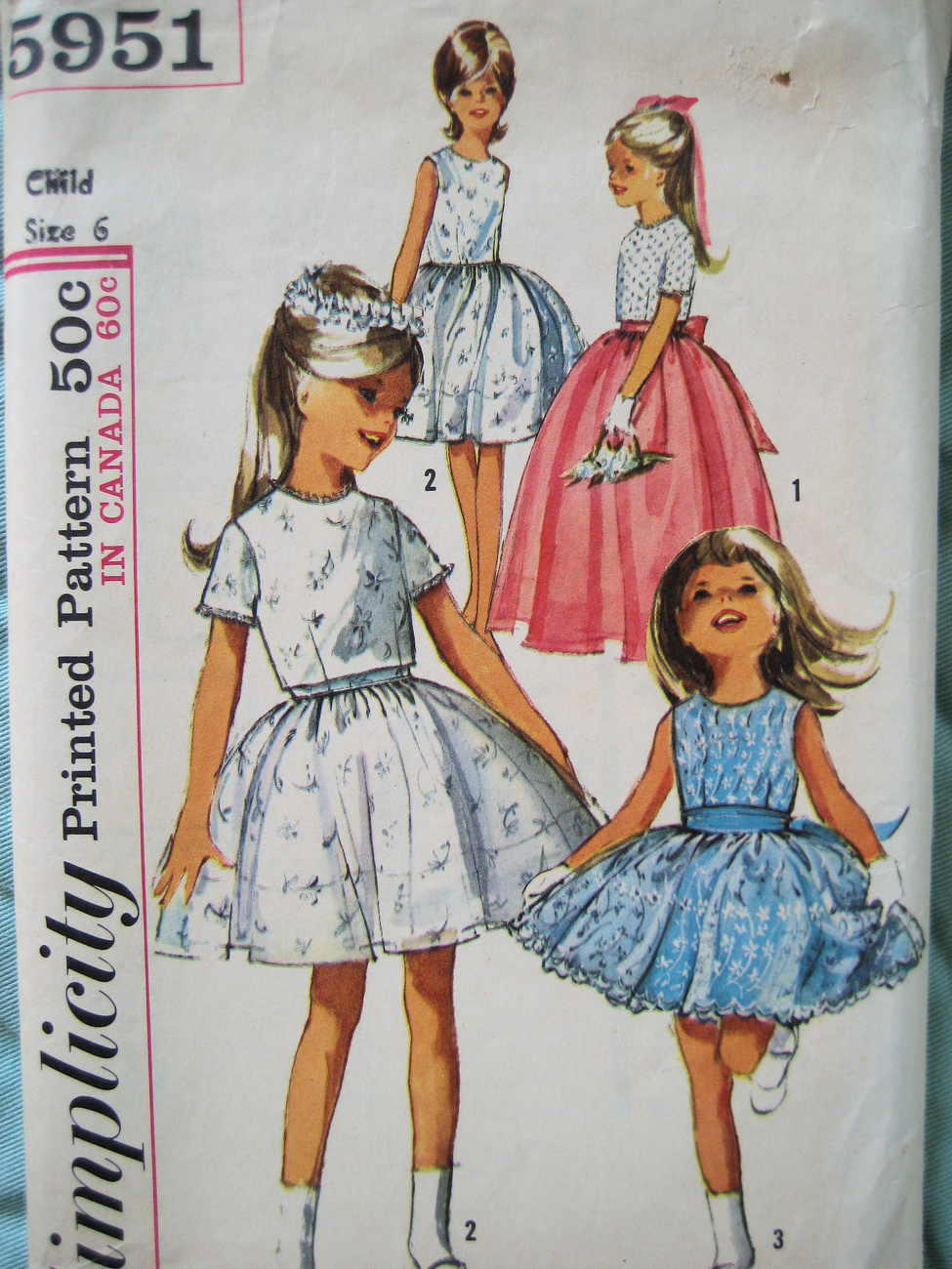 Simplicity 5951 Vintage 60s Pattern Flower Girl Size 6 Party Dress Simplicity New Look