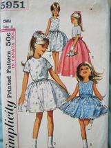 Simplicity 5951 Vintage 60s Pattern Flower Girl Size 6 Party Dress - $16.95
