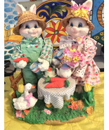 Vintage Collectible Easter Bunny Couple/Family - $49.99