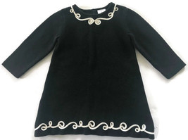 Hanna Andersson Milano Dress Toddler Girls 80 Size 2T Black Knit White S... - $18.62