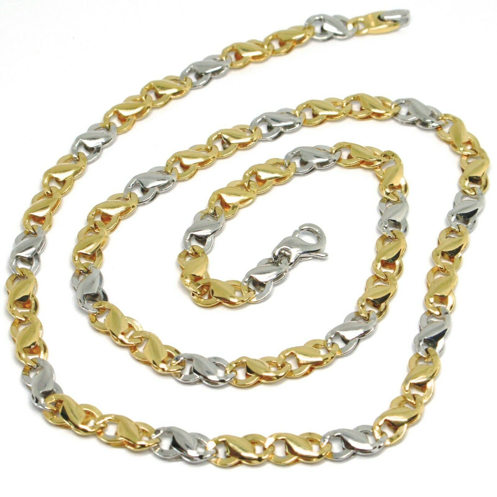 18K YELLOW WHITE GOLD CHAIN, INFINITE ROUNDED LINK, 20 INCHES, ITALY MADE