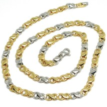 18K YELLOW WHITE GOLD CHAIN, INFINITE ROUNDED LINK, 20 INCHES, ITALY MADE image 1