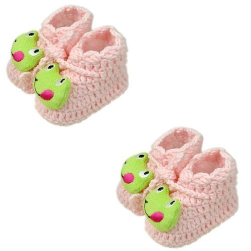 Pink Frog Woolen Yarn Baby Newborn Shocks Infant Toddler Shoes 2 Pack 0-6M