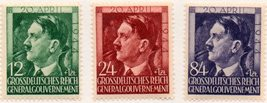 1944 Hitler Birthday Occupied Poland Set of 3 Stamps Catalog Number NB33-35 MNH