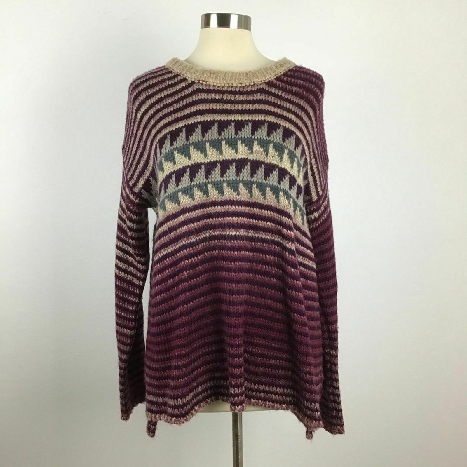 Primary image for Womens M Mystree fuzzy high low stripe wool mohair sweater