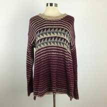 Womens M Mystree fuzzy high low stripe wool mohair sweater - $24.75
