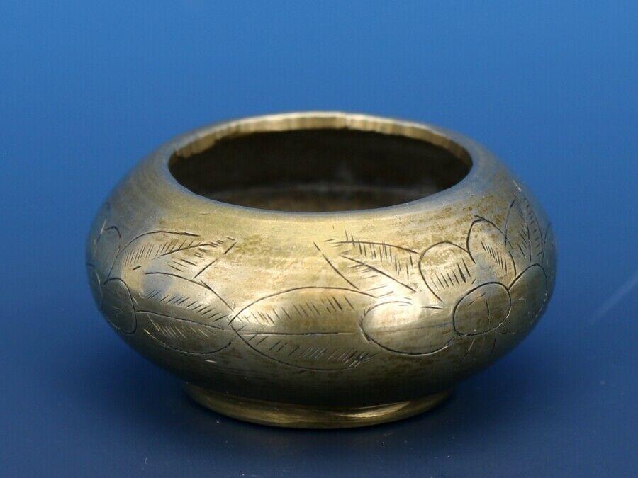 Antique Open Salt Dip Cellar Chinese Export Brass, Cast in  2 Parts