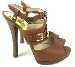 Michael Kors ST13J Slingback Strappy Stiletto Womens 9M Cognac Gold Leat... - $40.91