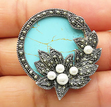 925 Silver - Vintage Turquoise Marcasite & Mini Pearl Round Brooch Pin - BP2820 - $32.16