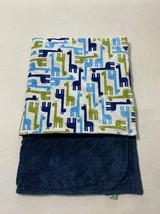 Bebe Bella Designs Giraffe Minky Baby Blanket Navy Blue Bump Dot Green White - $29.99