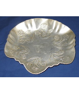 Vintage Aluminum  Scalloped Rose Candy Nut Dish - $13.99