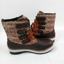 UGG Winter Duck Boots Womens 5 Leather Textile Lace Buckle Auburn Decatu... - $96.99