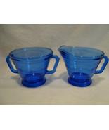 Hazel Atlas Glass Moderntone open blue glass sugar and creamer. - $15.00
