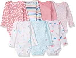 Carter's Baby 7 Pack Long Sleeve Bodysuits, rainbow hearts, 3 Months - $23.50