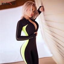 InstaHot Sexy Slim Skinny Workout Jumpsuits Women Autumn Popular Sporting Body B - $40.72