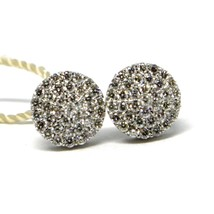 White Gold Earrings 750 18k, 0.50 Carat Diamonds, Button, Round, sett 8 MM image 1