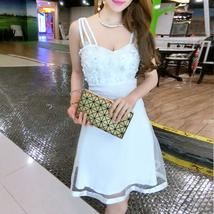 PF268 sexy sweet halter dress, open back, mesh & satin, Size S-L, white - $18.80