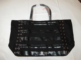 Victoria's Secret Black Weekender Tote Bag Purse Limited Edition Black NWT - $44.54