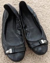 COACH Delphine Black Leather Push-Lock Logo Ballet Flats Shoes Size 7.5 - $59.39