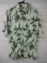 Campia Moda Mens Size L Hawaiian Ivory w/Green Palms 100% Rayon Button-U... - $14.39