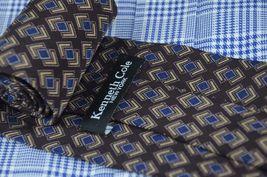 Kenneth Cole Men's Tie Eggplant Blue & Gold Printed Silk Necktie 56 x 4 in. image 4