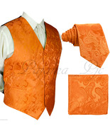 ORANGE XS to 6XL Paisley Tuxedo Suit Dress Vest Waistcoat & Neck tie Hanky