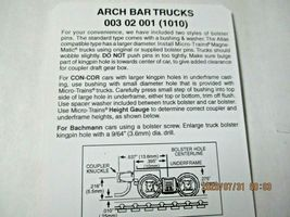Micro-Trains Stock # 00302001 (1010)  Arch Bar Trucks Short Extension N-Scale image 4
